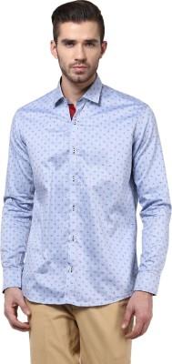 Invern Men's Self Design Casual Blue Shirt
