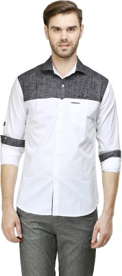 Human Steps Men's Solid Casual Grey, White Shirt