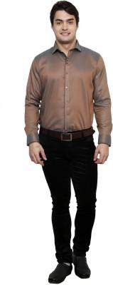 Clubstone Men's Solid Formal Reversible Brown Shirt