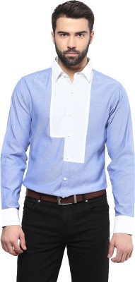 Marcello And Ferri Men's Solid Casual Blue Shirt