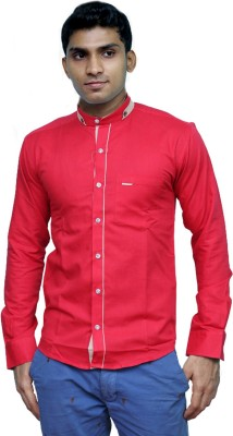 Rathi Collection Men's Solid Casual Linen Red Shirt