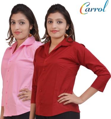 carrol Women,s, Girl's Solid Formal, Casual Maroon Shirt