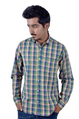 Tenor Men's Checkered Casual Beige, Green Shirt