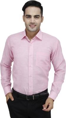 Da Vinci Men's Self Design Formal Pink Shirt
