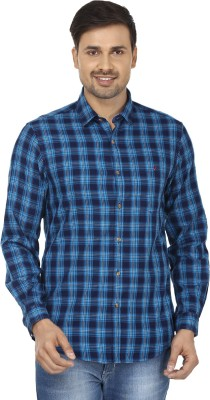 Wills Lifestyle Men's Checkered Casual Blue Shirt