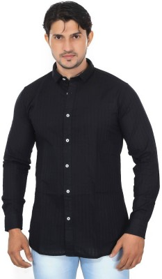 Mabho Men's Striped Casual Black Shirt