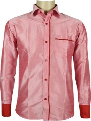 KENRICH Men's Solid Formal Pink Shirt