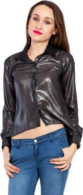 Kridh Women's Printed Casual Black Shirt