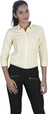 Elle Et Lui Women's Striped Formal Yellow Shirt