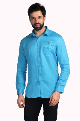 Nostrum Jeans Men's Solid Casual Light Blue Shirt