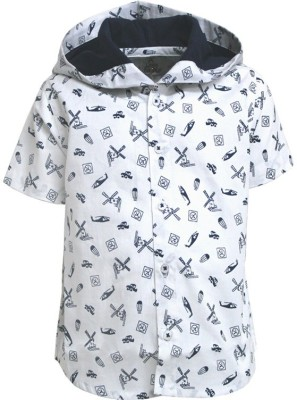 A Little Fable Boy's Printed Party White Shirt