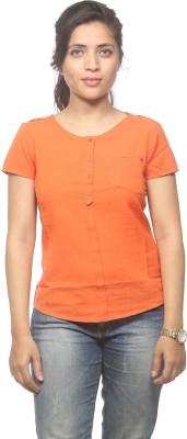 Spykar Women's Solid Casual Orange Shirt
