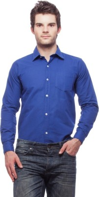 Fedrigo Men's Solid Casual Blue Shirt