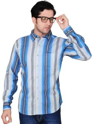 Denimize Men's Striped Casual Blue Shirt