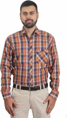The Standard Men's Checkered Formal Orange Shirt