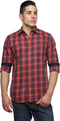 British Club Men's Checkered Casual Orange, Black Shirt
