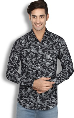 London Buck Men,s Self Design Casual Black Shirt