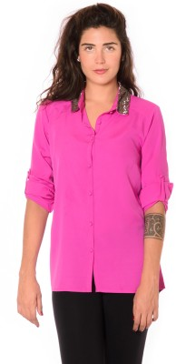 Urban Religion Women's Solid Party Pink Shirt