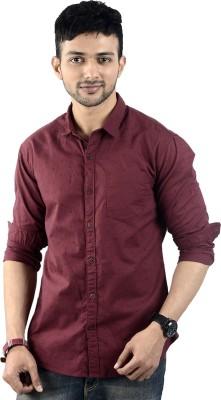 St. Germain Men's Printed Casual Maroon Shirt