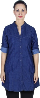 Auraori Women,s Solid Casual Blue Shirt