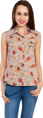 Kridh Women's Printed Casual Brown Shirt