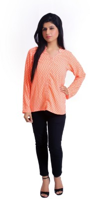 Feathers Closet Women's Printed Casual Orange Shirt