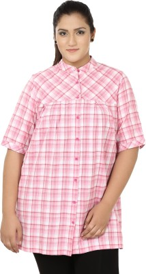 Eves Pret A Porter Women's Checkered Casual Pink, White Shirt