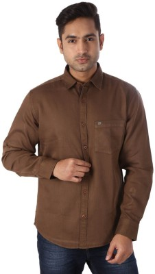 Warewell Men's Solid Casual Brown Shirt
