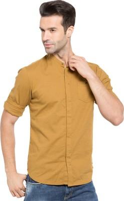 Status Quo Men,s Solid Casual Yellow Shirt