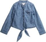 XnY Girls Printed Casual Blue Shirt