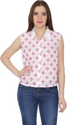 Kaaya Women's Floral Print Casual White Shirt
