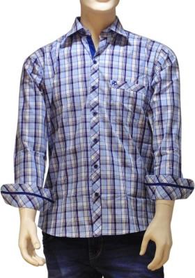 EXIN Fashion Men's Checkered Casual Blue, Black, White Shirt