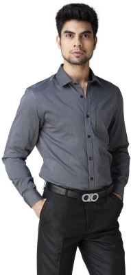 Warewell Men's Striped Formal Grey Shirt