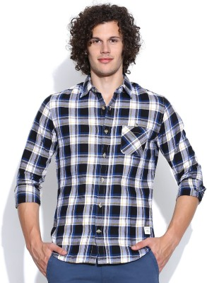 United Colors of Benetton Men's Checkered Casual Black, White Shirt