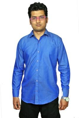 labish Men's Solid Formal Blue Shirt