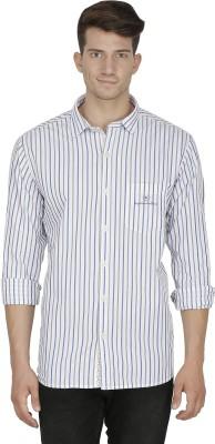 Kingswood Men's Striped Casual White Shirt