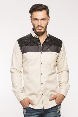 ROYALION Men's Printed Casual Brown Shirt