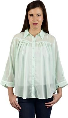 Saffora Fashion Women's Solid Casual Light Green Shirt