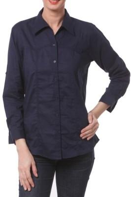 Meow Women's Solid Formal Dark Blue Shirt