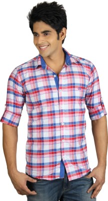 Nexq Men's Checkered Casual Red, White Shirt