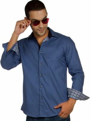 Provogue Men's Solid Formal Blue Shirt