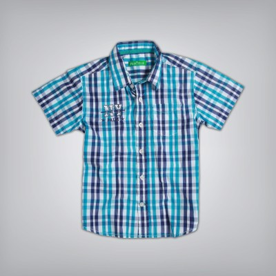 Palm Tree Boy's Printed Casual Blue Shirt