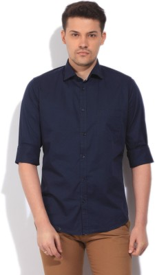 Easies Men's Solid Casual Blue Shirt