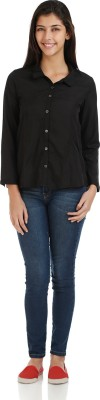 Bhane Women's Solid Casual Black Shirt