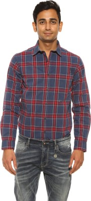 Pepe Jeans Men's Checkered Casual Blue Shirt