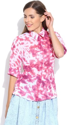 Oshea Women's Printed Casual Pink Shirt