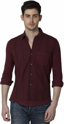 XARO Men's Printed Casual Maroon Shirt