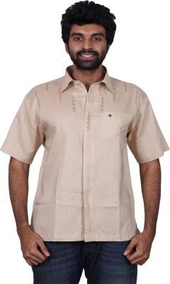 Karlsburg Men's Embroidered Casual Brown, Gold Shirt