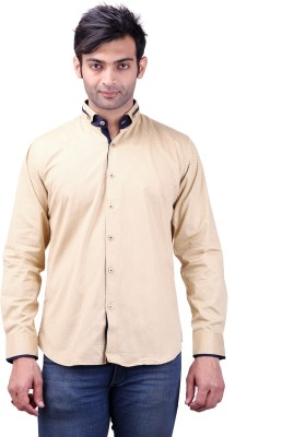 Clubstone Men's Printed Casual Beige Shirt