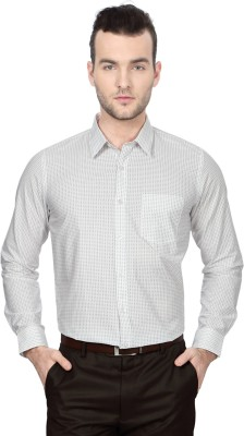 University of Oxford Men's Geometric Print Formal White Shirt